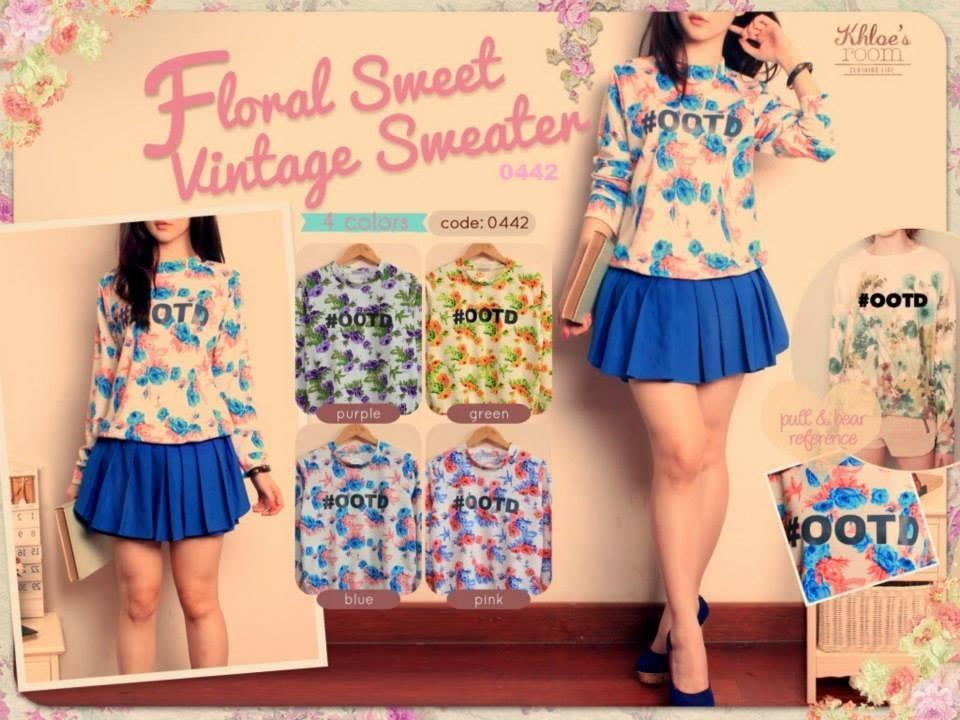 jual atasan wanita cantik murah berkualitas Khloes Floral Sweet Vintage  Sweater jual baju ... fc1dc474a8